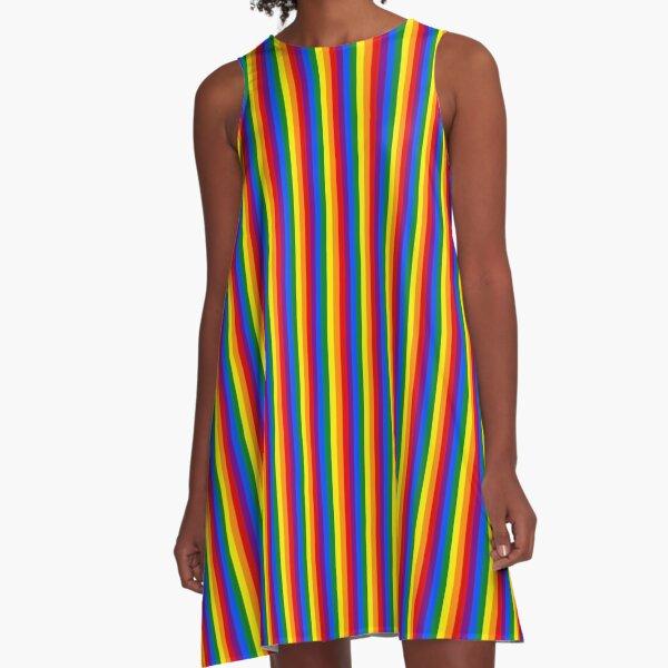 Vertikale Gay Pride Regenbogen Flagge Pin Streifen A-Linien Kleid