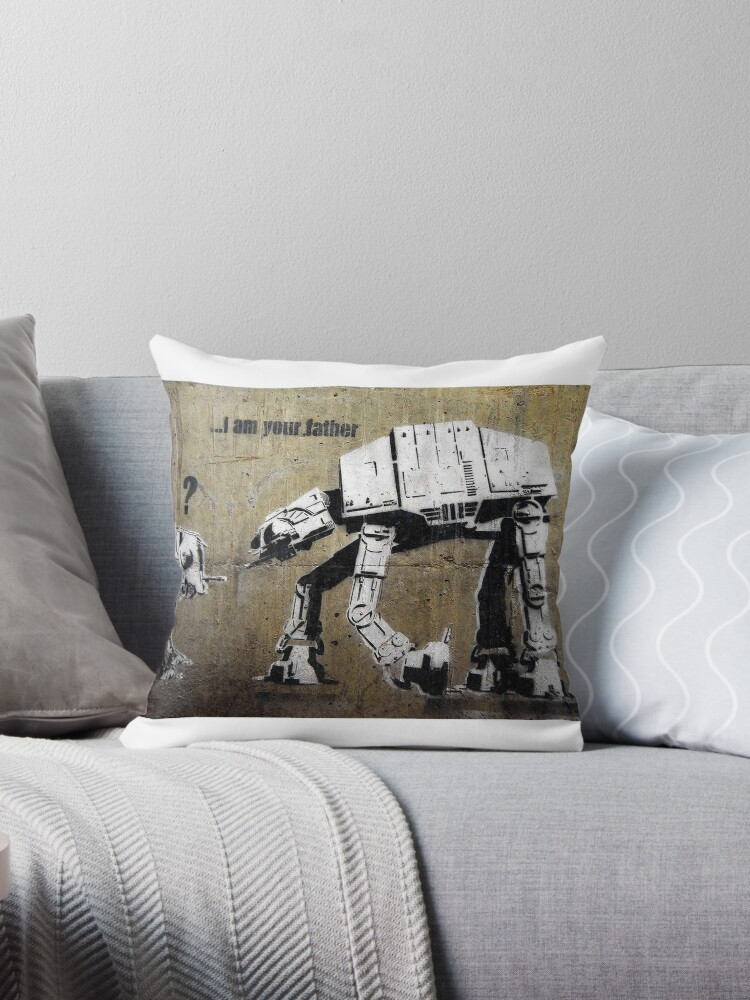 Banksy I Am Your Father Throw Pillow By Rmsphoto Redbubble