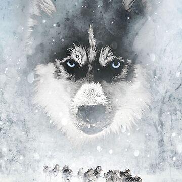 Winter huskies by Destroyed-Pixel