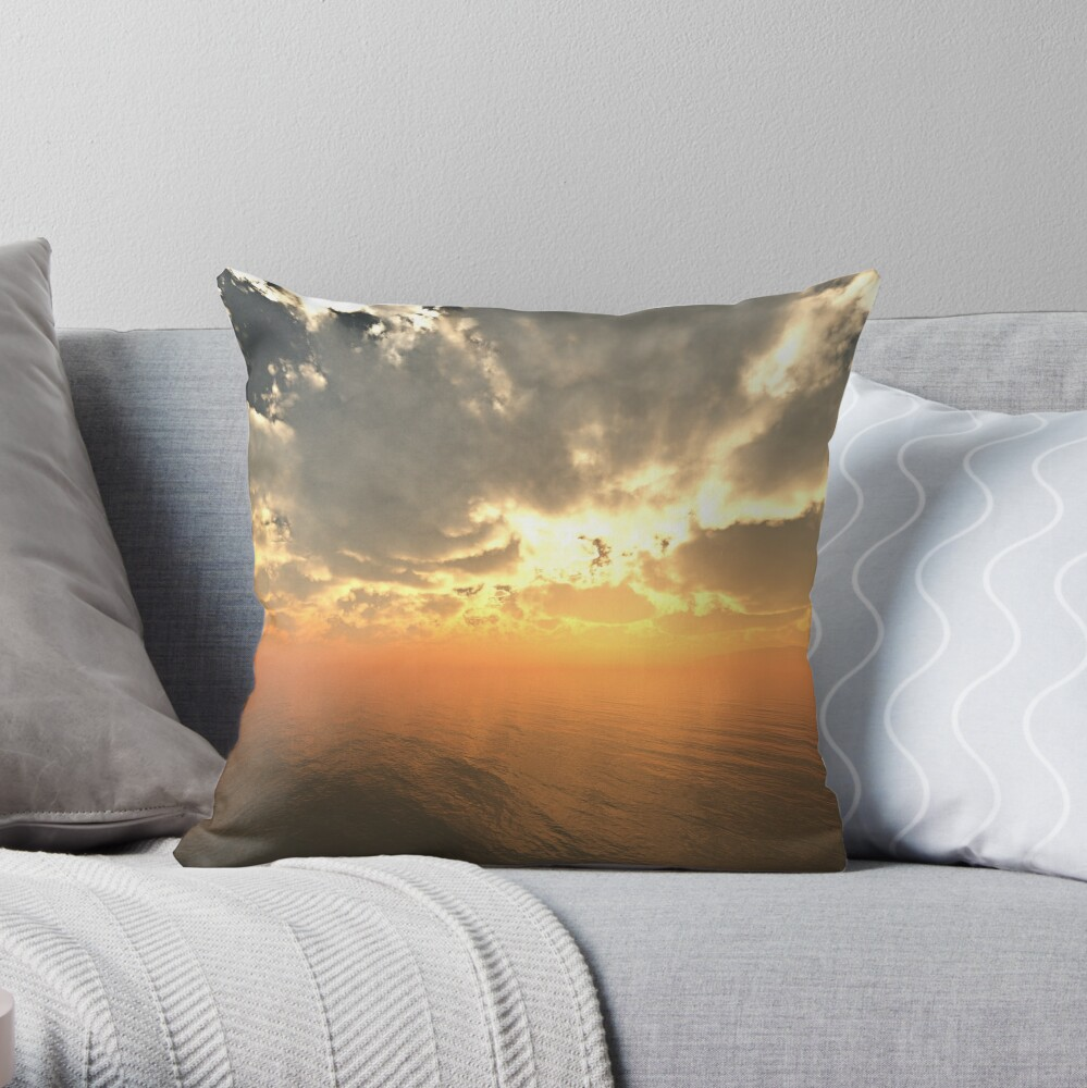 Cloudy Sunrise Over Water Throw Pillow