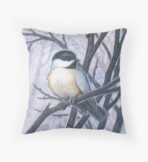 Chickadee Blues Throw Pillow