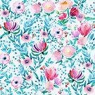 Colorful watercolors summers flowers pattern by artonwear