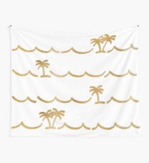 Golden Palms - White Background Wall Tapestry