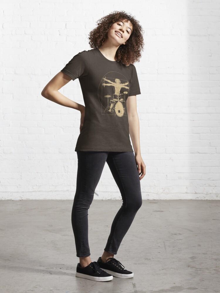 Alternative Ansicht von Vitruvian Drummer - Funny Music Gift Essential T-Shirt