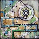 Abstract art green and blue inks on paper by Nikolai Bird