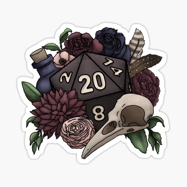 Necromancer D20 Tabletop RPG Gaming Dice Sticker