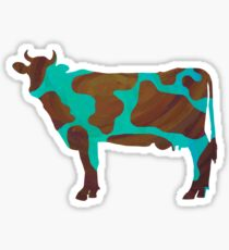 Cow Brown and Teal Print Sticker