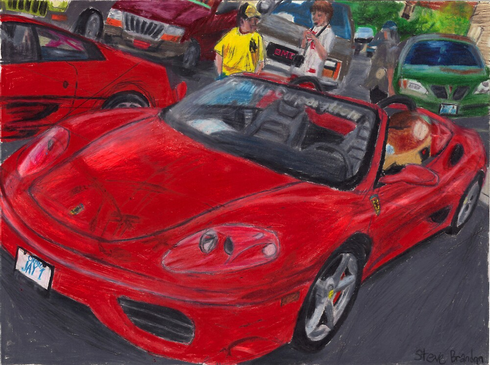 A coloured pencil drawing of a Ferrari 360 Spider. by SteveBrandon