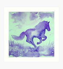 Blaues Aquarell Pferd Kunstdruck