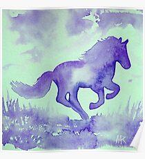 Blaues Aquarell Pferd Poster