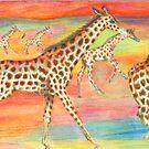Running Giraffe Herd by Catherine  Howell