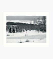 Black and White Pond Hockey Art Print