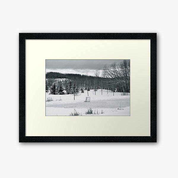 Black and White Pond Hockey Framed Art Print