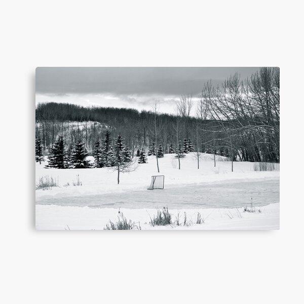 Black and White Pond Hockey Canvas Print