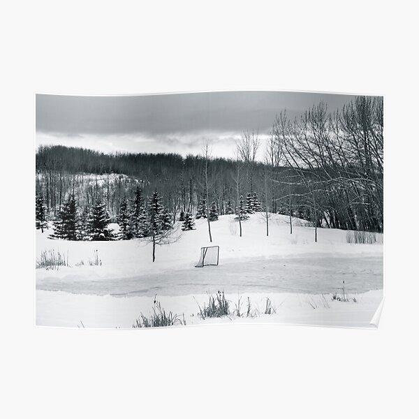 Black and White Pond Hockey Poster