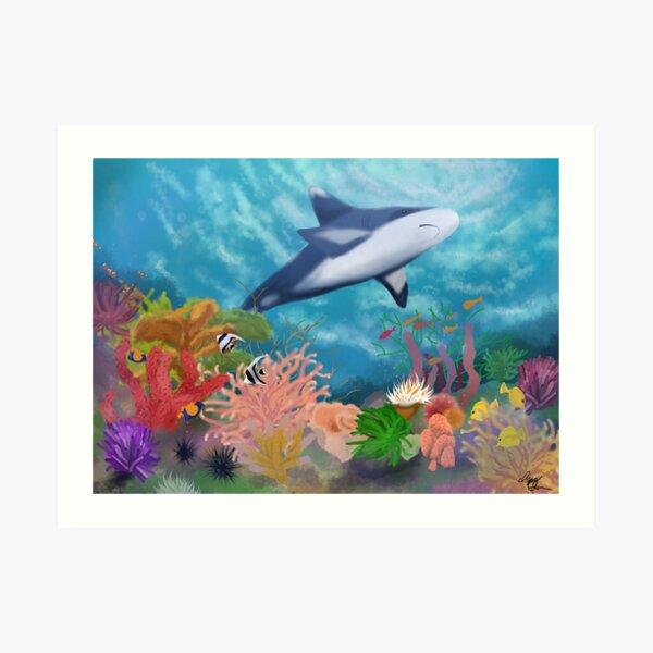Shark in a Coral Reef Art Print