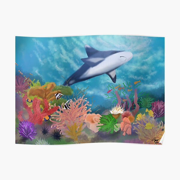 Shark in a Coral Reef Poster