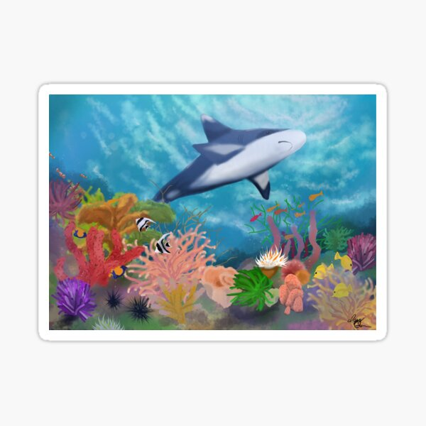Shark in a Coral Reef Sticker