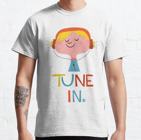 Tune In - Boy listening to music on headphones Retro Design Classic T-Shirt