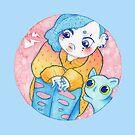 «Umie & Mochi II - Moda Harajuku - Chica japonesa y su gato (space-buns, moños) - kawaii» de komorebistars