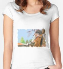 Horse drawn Art Women's Fitted Scoop T-Shirt