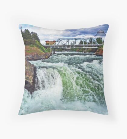 Spokane River Falls Throw Pillow