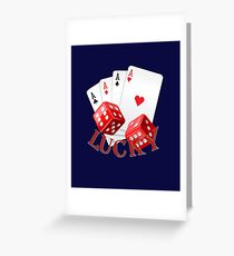 """""""LUCKY"""" with poker aces and red dice. Greeting Card"""
