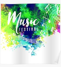 Abstract colorful grunge style musical Poster