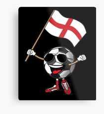 England Football Team Soccer Ball With National Flag Fan Shirt Metal Print