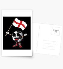 England Football Team Soccer Ball With National Flag Fan Shirt Postcards