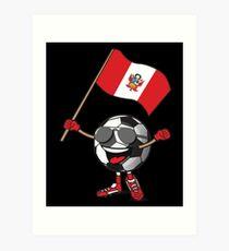Peru Football Team Soccer Ball With National Flag Fan Shirt Art Print