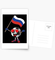 Russia Football Team Soccer Ball With National Flag Fan Shirt Postcards