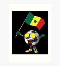 Senegal Football Team Soccer Ball With National Flag Fan Shirt Art Print