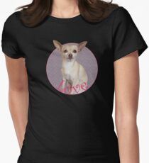 Love Chihuahua with pink colors Women's Fitted T-Shirt