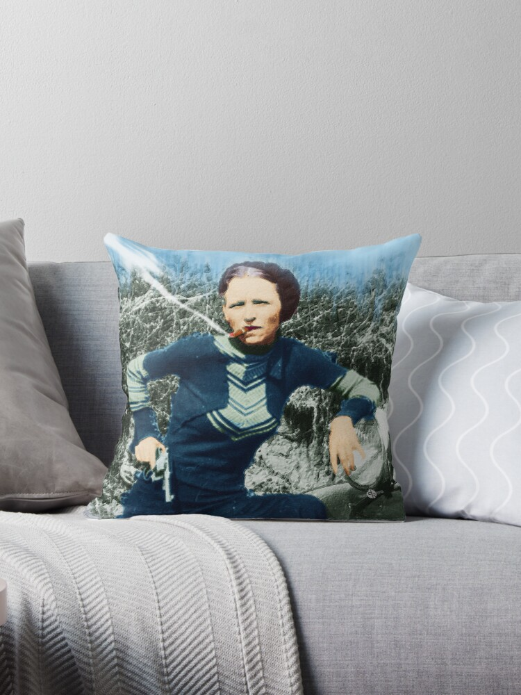 'Painting Of Bonnie Parker Of Bonnie And Clyde Mugshot Cigar Gun' Throw  Pillow by Tony Rubino