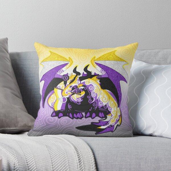 Non-binary pride dragon Throw Pillow