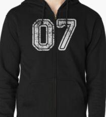Sport Team Jersey 07 T Shirt Football Soccer Baseball Hockey Basketball Seven 7 07 Number Zipped Hoodie