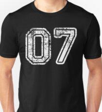 Sport Team Jersey 07 T Shirt Football Soccer Baseball Hockey Basketball Seven 7 07 Number Unisex T-Shirt
