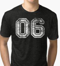 Sport Team Jersey 06 T Shirt Football Soccer Baseball Hockey Basketball Six 6 06 Number Tri-blend T-Shirt