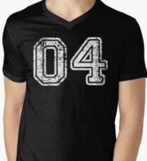 Sport Team Jersey 04 T Shirt Football Soccer Baseball Hockey Basketball Four 4 04 Number Men's V-Neck T-Shirt