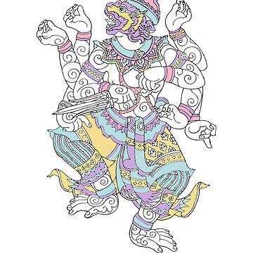 Thai Hanuman Divine Monkey Deity by Zehda