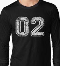 Sport Team Jersey 02 T Shirt Football Soccer Baseball Hockey Basketball Two 2 02 Number Long Sleeve T-Shirt