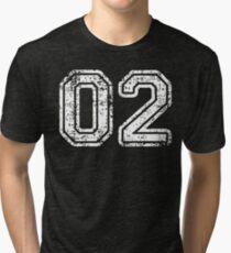 Sport Team Jersey 02 T Shirt Football Soccer Baseball Hockey Basketball Two 2 02 Number Tri-blend T-Shirt