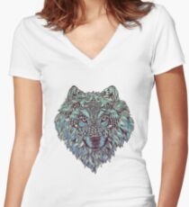 Wolf (Lone) Women's Fitted V-Neck T-Shirt