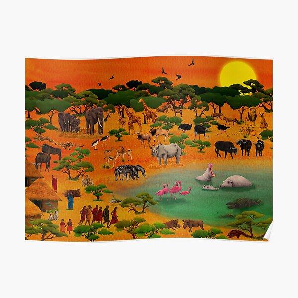 Serengeti Wimmelbild Poster