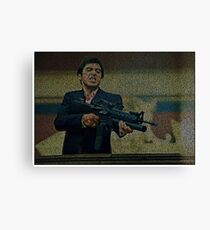 Text Portrait of Tony Montana with Full Script of Scarface  Canvas Print