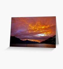 Queenstown Sunset Lake Wakatipu New Zealand  Greeting Card