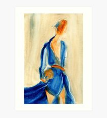 """Fashion and Victim Painting """"Blue and Beauty"""" Art Print"""