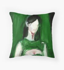 "Fashion and Victim Painting ""Green and Beauty"" Throw Pillow"