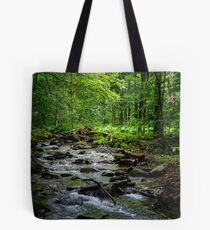 wild brook in the dark forest Tote Bag